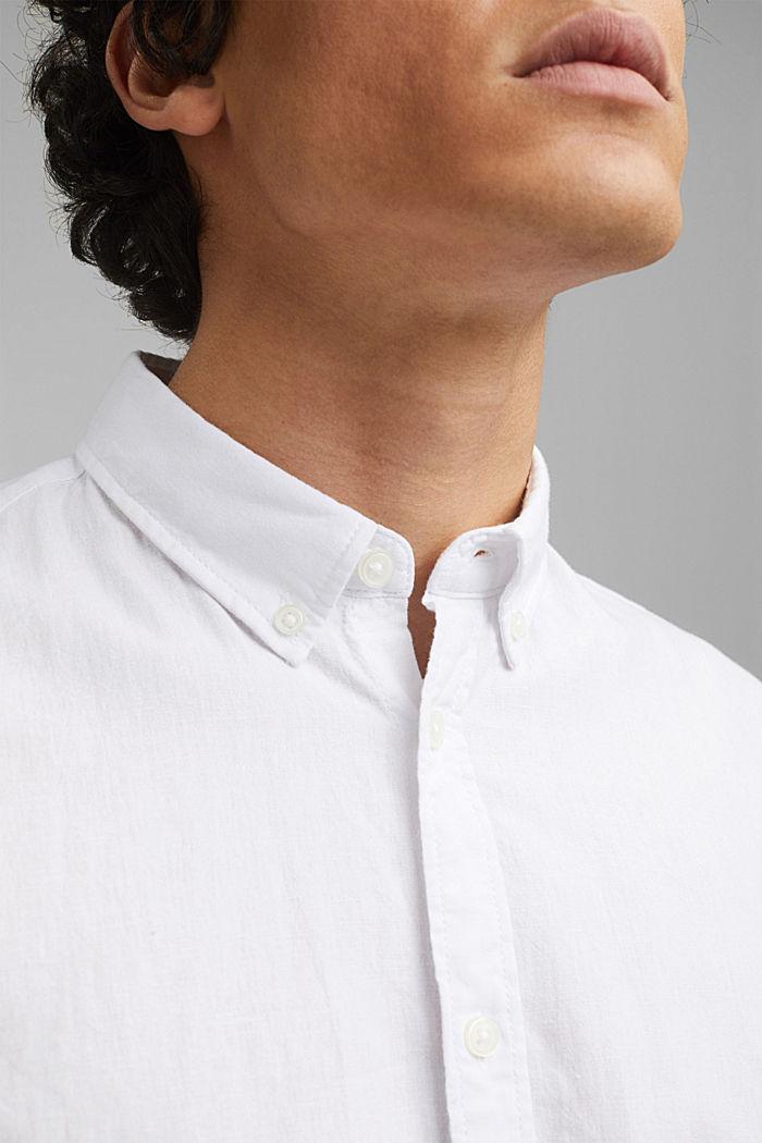 Aus Bio-Baumwolle/Leinen: Kurzarm-Hemd, WHITE, detail image number 2