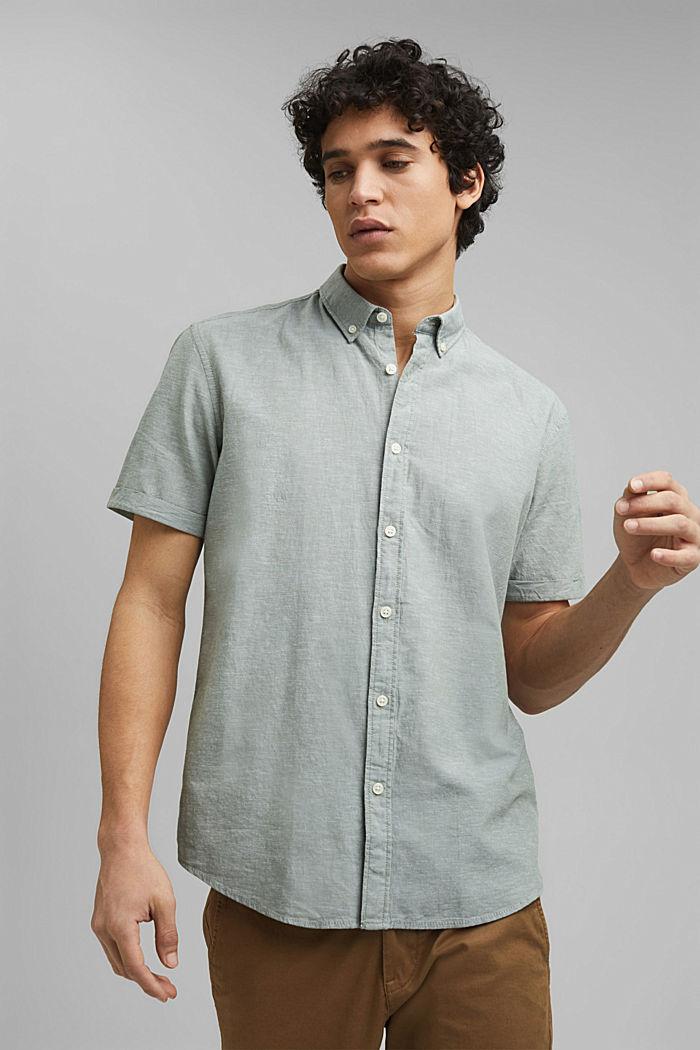 En coton biologique/lin: la chemise à manches courtes, LIGHT KHAKI, detail image number 0