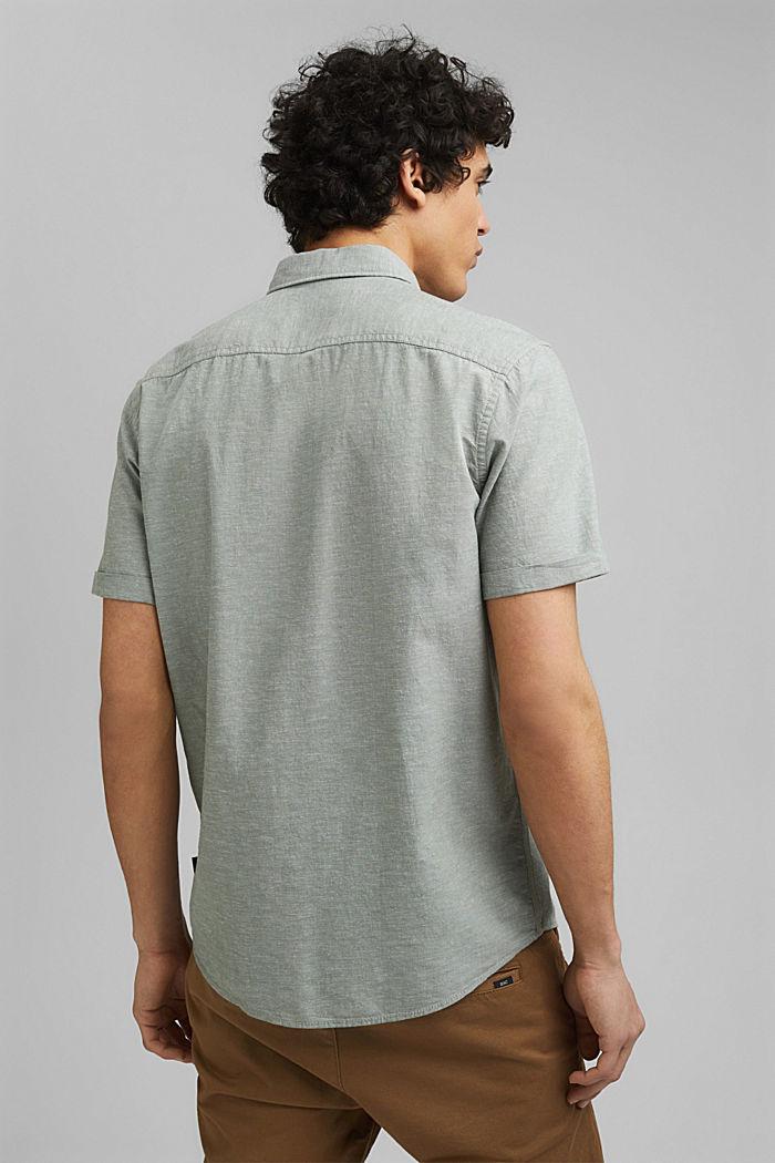 En coton biologique/lin: la chemise à manches courtes, LIGHT KHAKI, detail image number 3