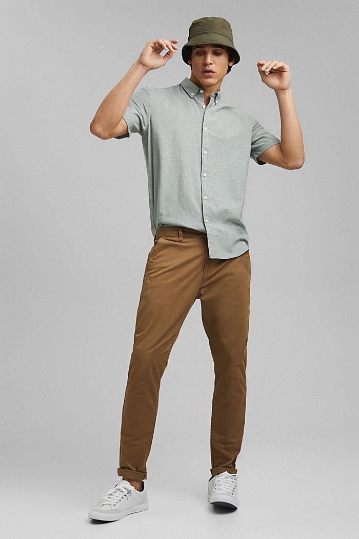 En coton biologique/lin: la chemise à manches courtes, LIGHT KHAKI, detail image number 1
