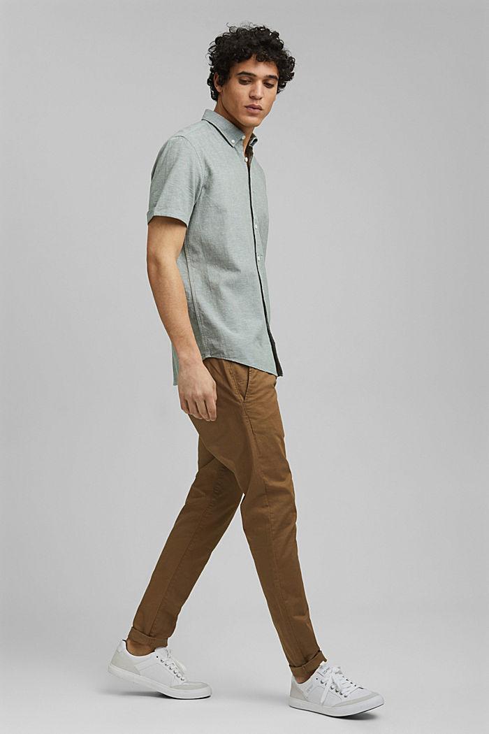 En coton biologique/lin: la chemise à manches courtes, LIGHT KHAKI, detail image number 5