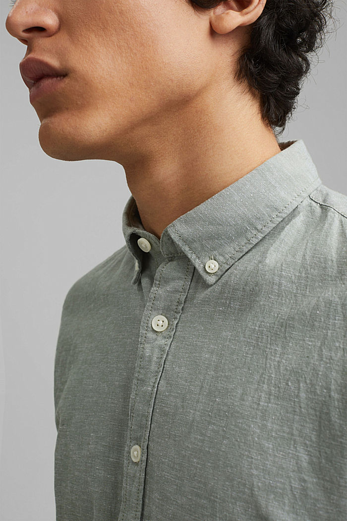 En coton biologique/lin: la chemise à manches courtes, LIGHT KHAKI, detail image number 2