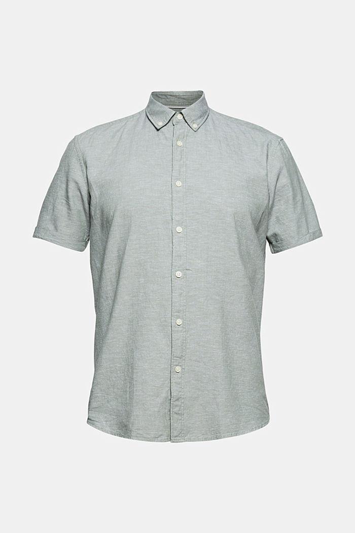 En coton biologique/lin: la chemise à manches courtes, LIGHT KHAKI, detail image number 6