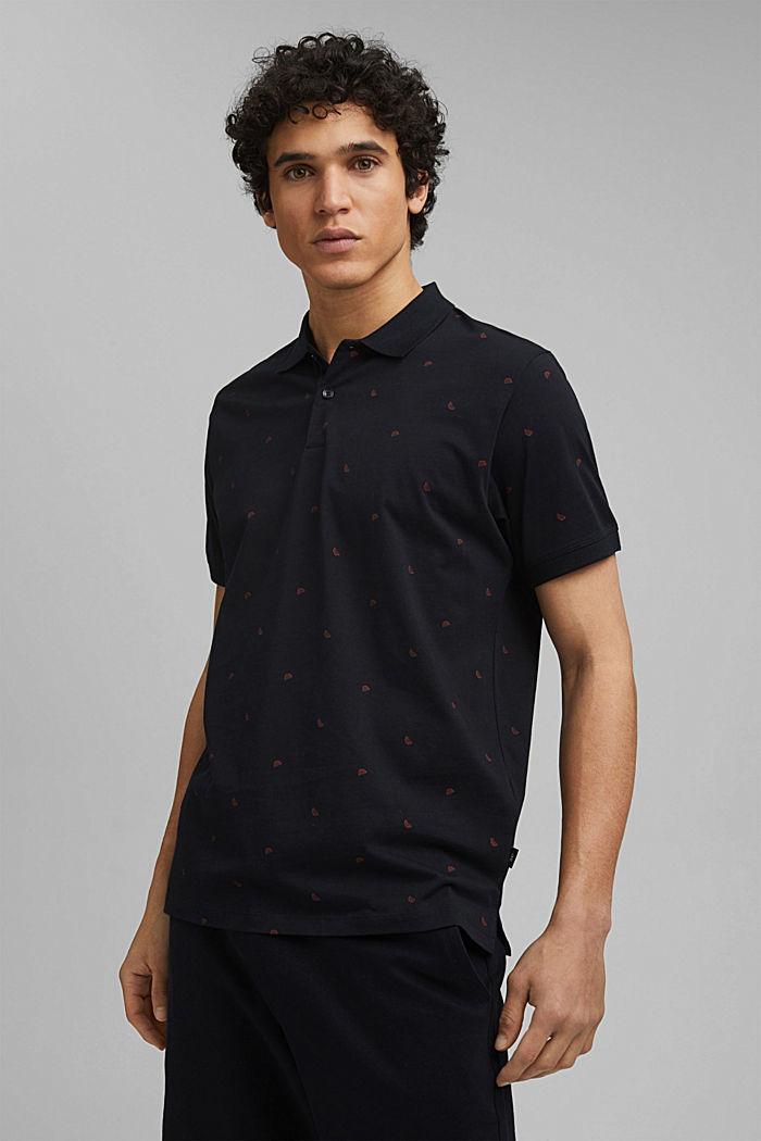 Jersey-Poloshirt mit Print, Organic Cotton