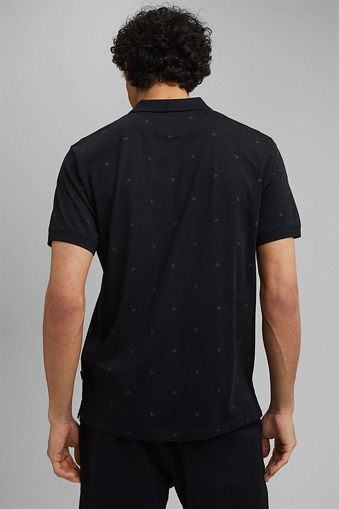 Polo en jersey à imprimé, en coton biologique, BLACK, detail image number 3