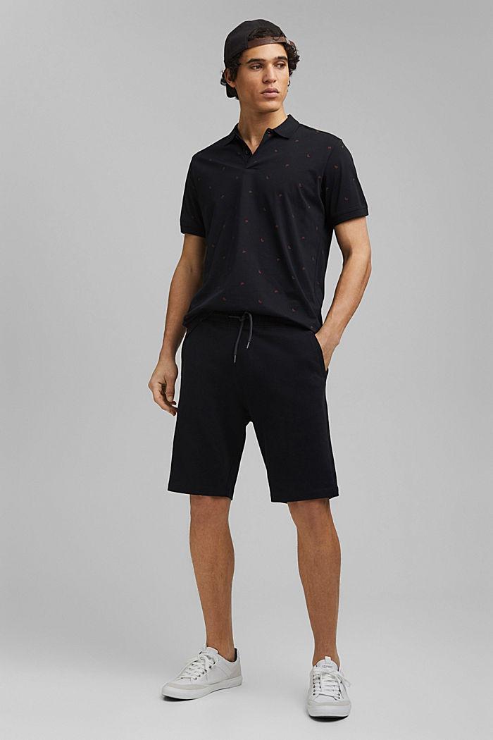 Polo en jersey à imprimé, en coton biologique, BLACK, detail image number 2