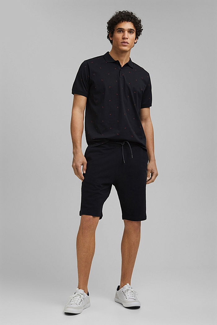 Polo en jersey à imprimé, en coton biologique, BLACK, detail image number 7