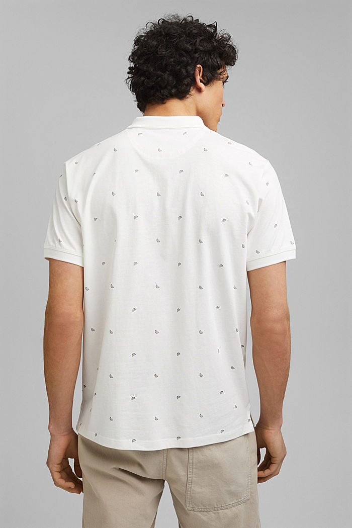 Polo en jersey à imprimé, en coton biologique, OFF WHITE, detail image number 3