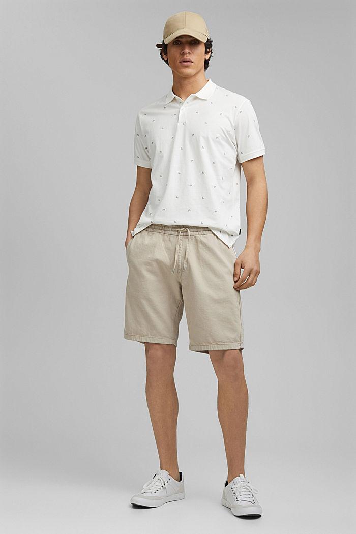 Polo en jersey à imprimé, en coton biologique, OFF WHITE, detail image number 2