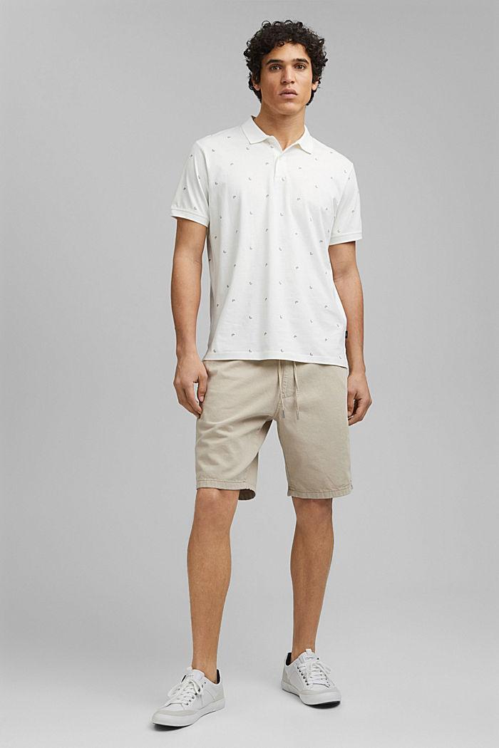 Polo en jersey à imprimé, en coton biologique, OFF WHITE, detail image number 6