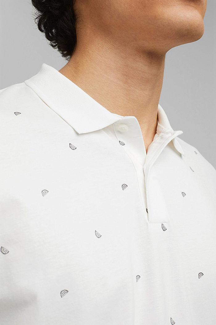 Polo en jersey à imprimé, en coton biologique, OFF WHITE, detail image number 1