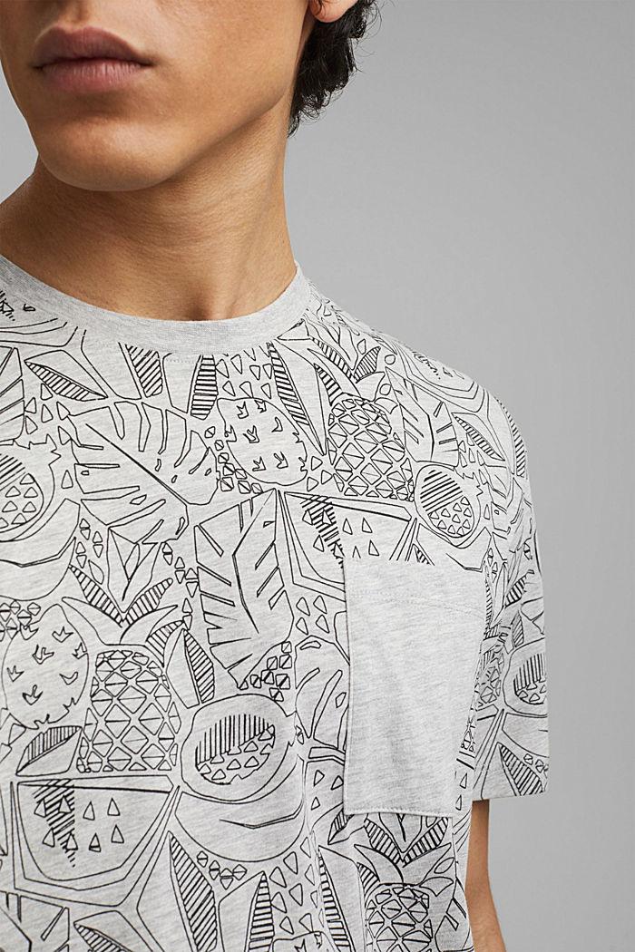 Shirt met print en organic cotton, LIGHT GREY, detail image number 1