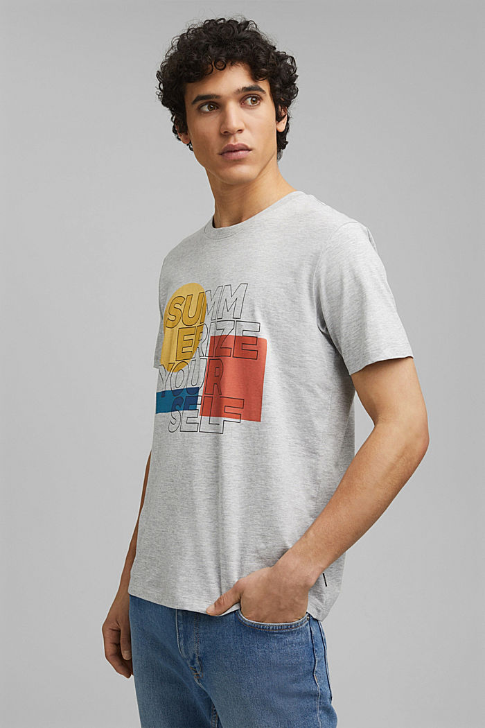 Print t-shirt with organic cotton, LIGHT GREY, detail image number 0