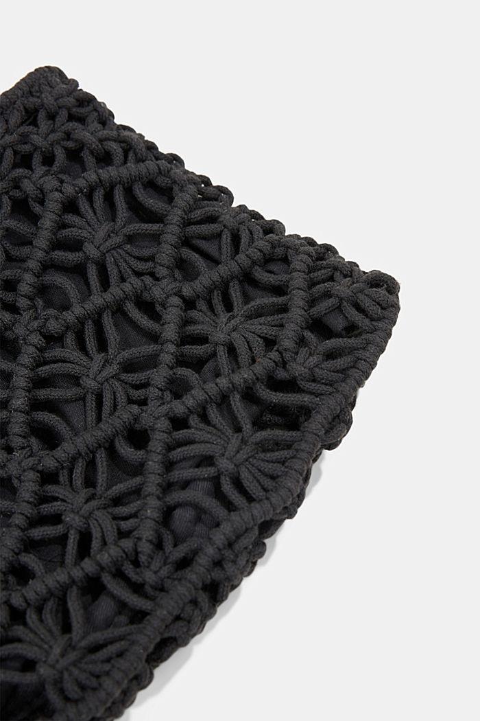 Handmade: macramé clutch, BLACK, detail image number 3