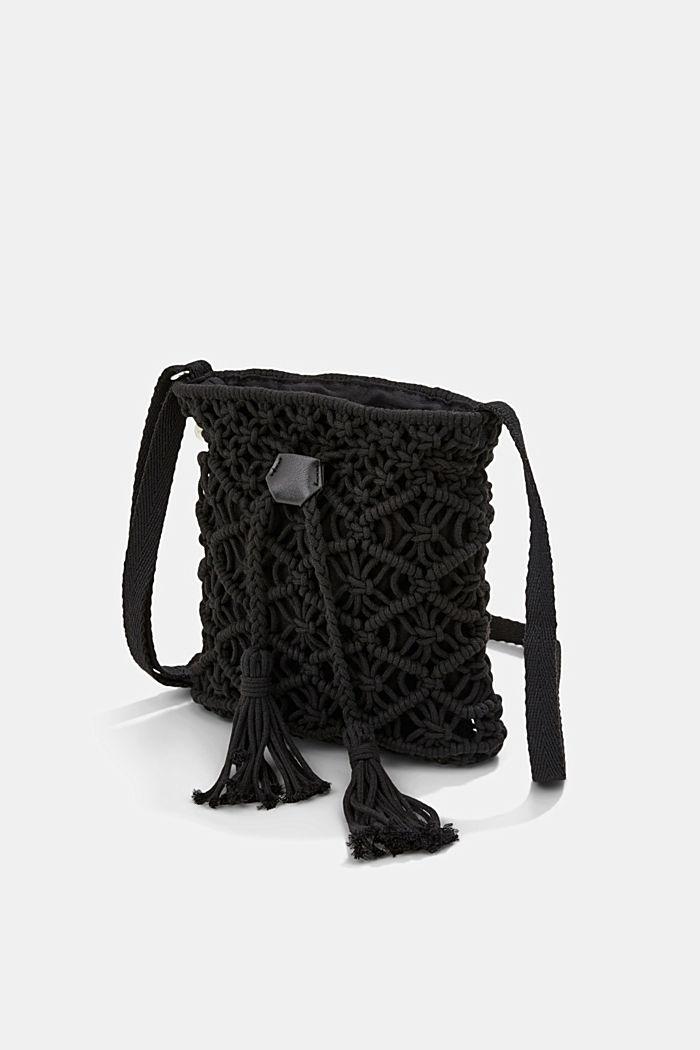 Met de hand gemaakt: bucket bag van macramé, BLACK, detail image number 2