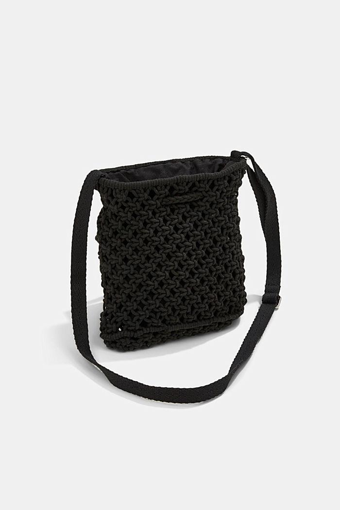 Met de hand gemaakt: bucket bag van macramé, BLACK, detail image number 5
