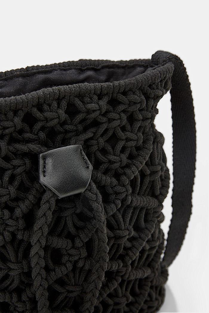 Met de hand gemaakt: bucket bag van macramé, BLACK, detail image number 3