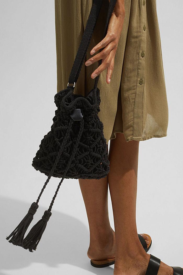 Met de hand gemaakt: bucket bag van macramé, BLACK, detail image number 1