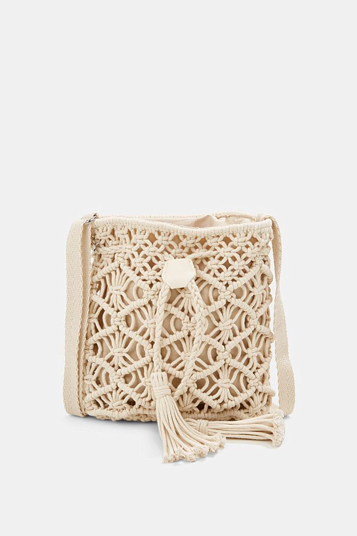 Met de hand gemaakt: bucket bag van macramé, OFF WHITE, detail image number 0