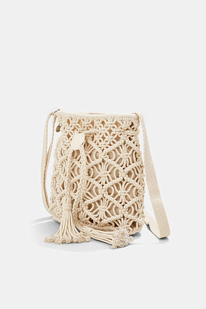 Met de hand gemaakt: bucket bag van macramé, OFF WHITE, detail image number 2
