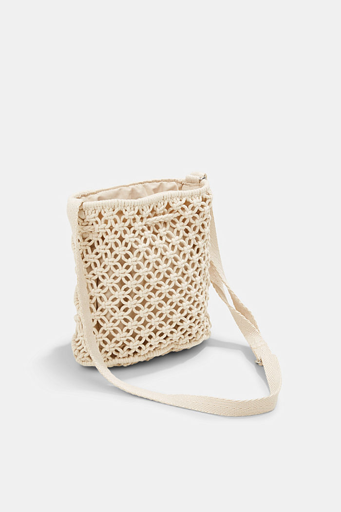 Met de hand gemaakt: bucket bag van macramé, OFF WHITE, detail image number 5