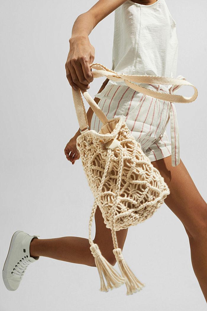 Met de hand gemaakt: bucket bag van macramé, OFF WHITE, detail image number 6