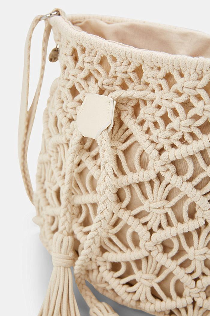 Met de hand gemaakt: bucket bag van macramé, OFF WHITE, detail image number 3
