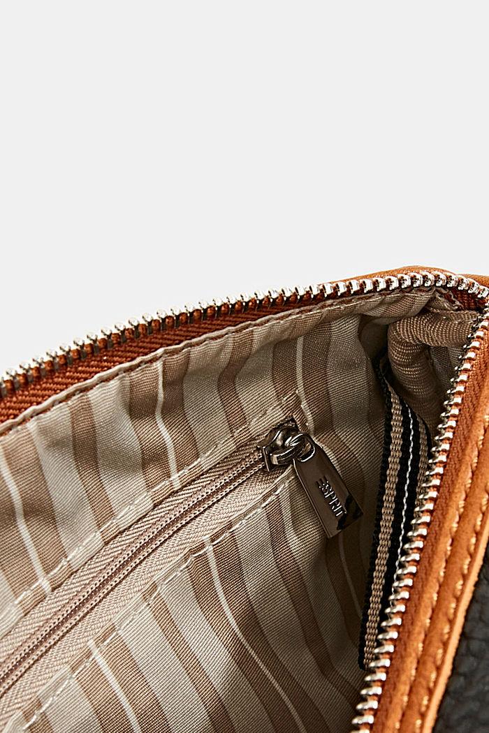 Veganistisch: tweekleurige schoudertas, BLACK, detail image number 4