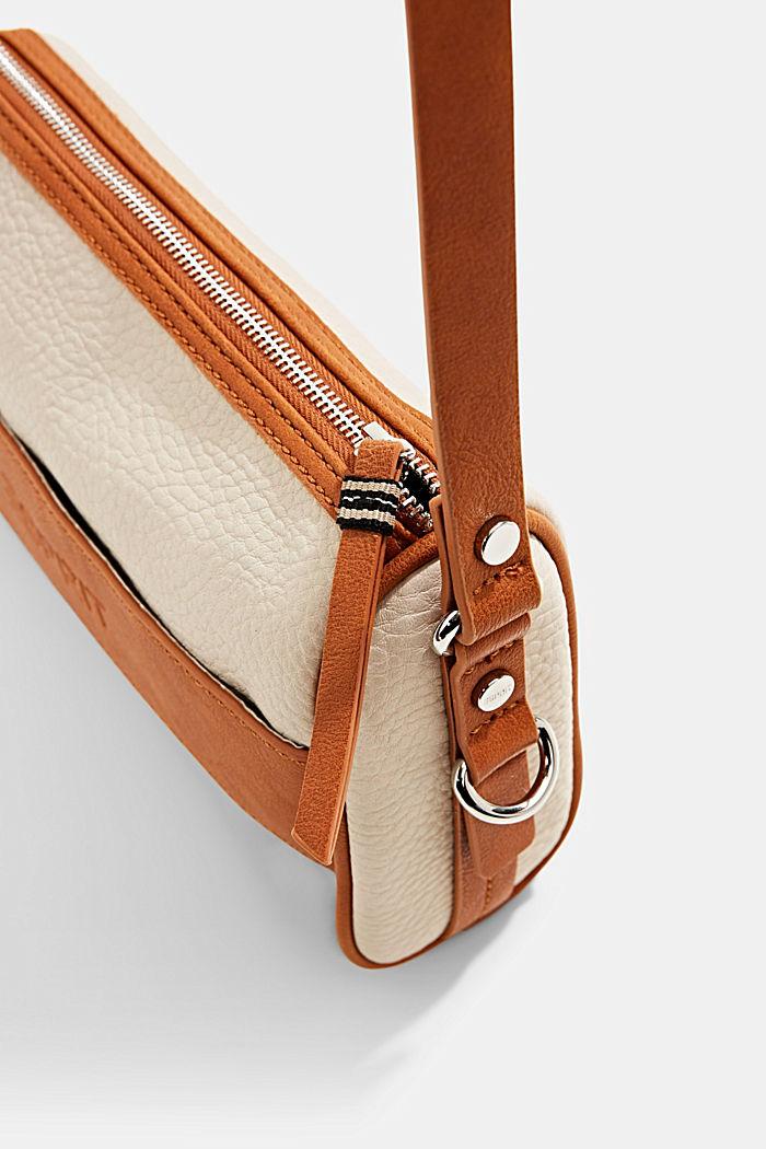 Vegano: bolso bandolera con diseño bicolor, LIGHT BEIGE, detail image number 4