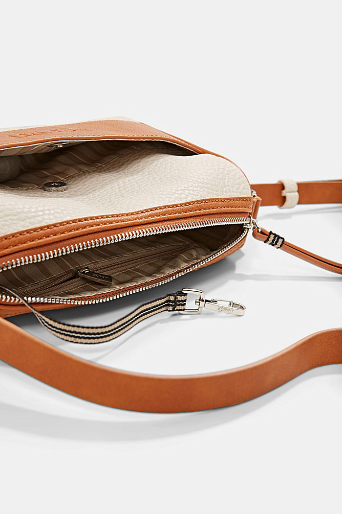 Vegano: bolso bandolera con diseño bicolor, LIGHT BEIGE, detail image number 3