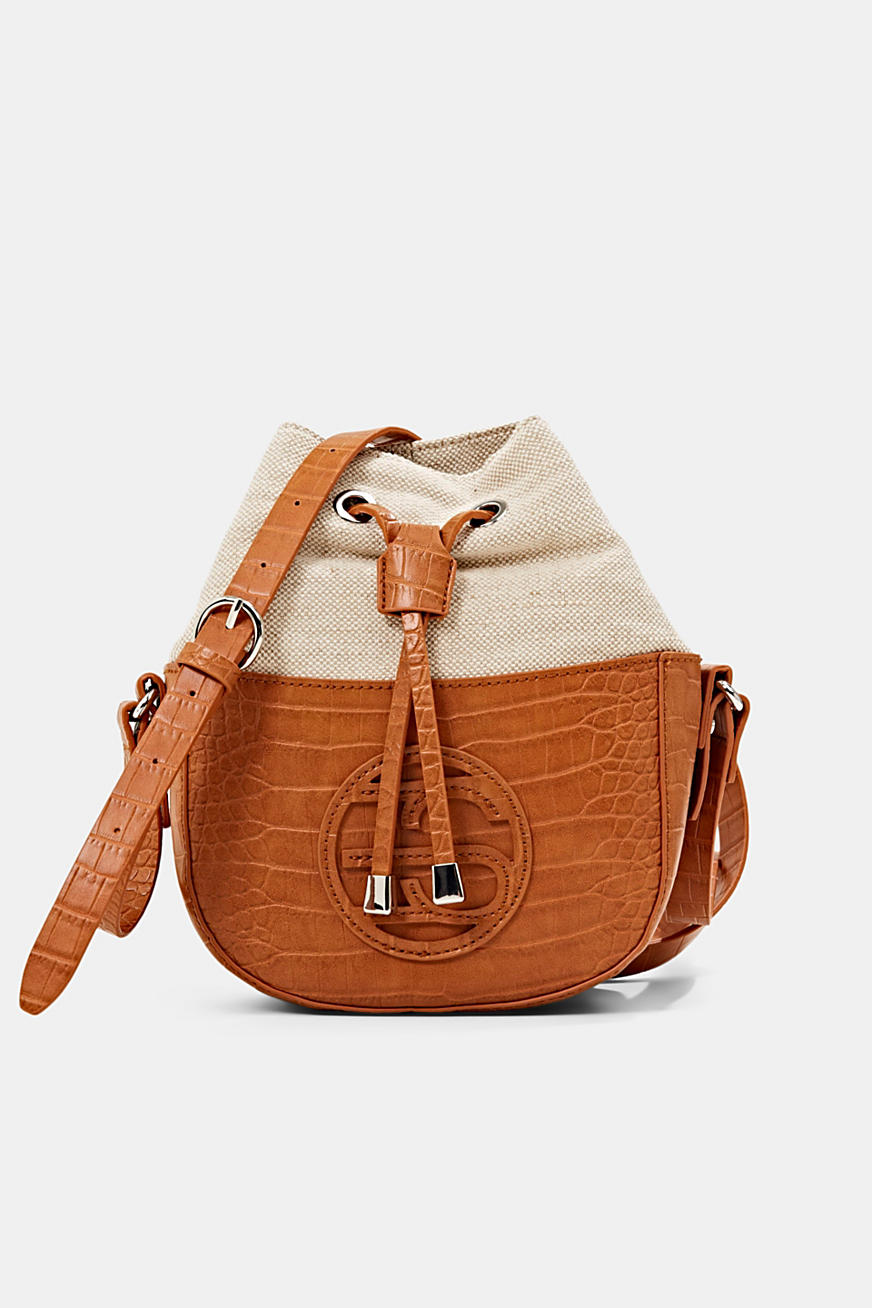 Bucket bag van canvas en imitatieleer