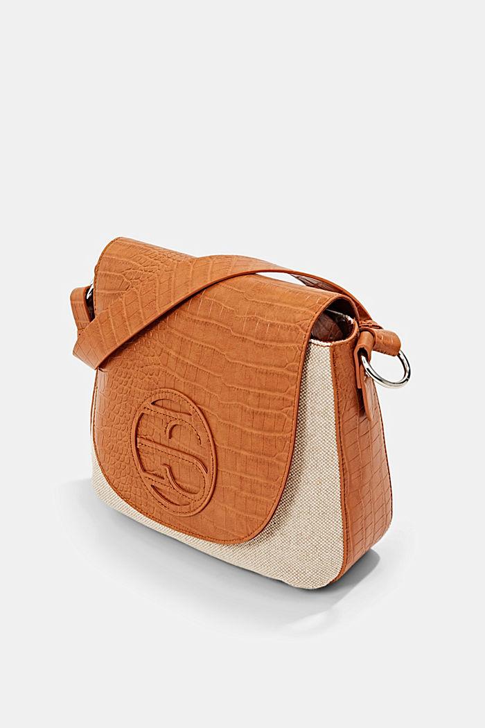 Canvas and faux leather shoulder bag, CARAMEL, detail image number 2