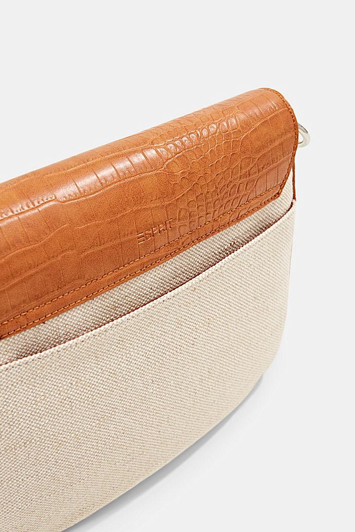 Canvas and faux leather shoulder bag, CARAMEL, detail image number 5