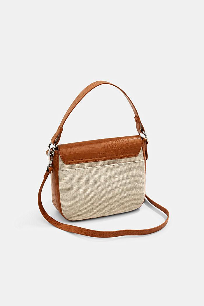 Canvas and faux leather shoulder bag, CARAMEL, detail image number 6