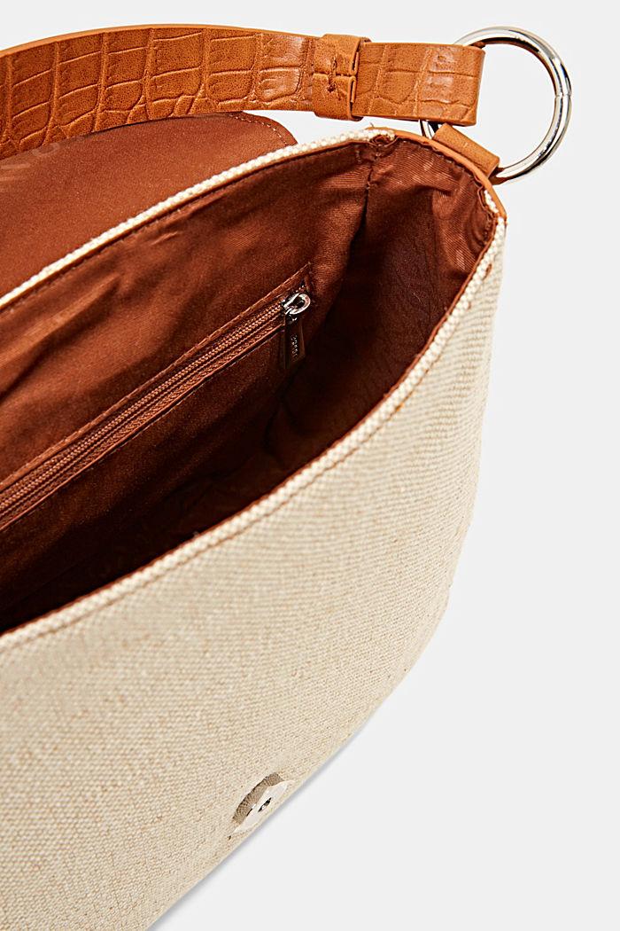 Canvas and faux leather shoulder bag, CARAMEL, detail image number 4