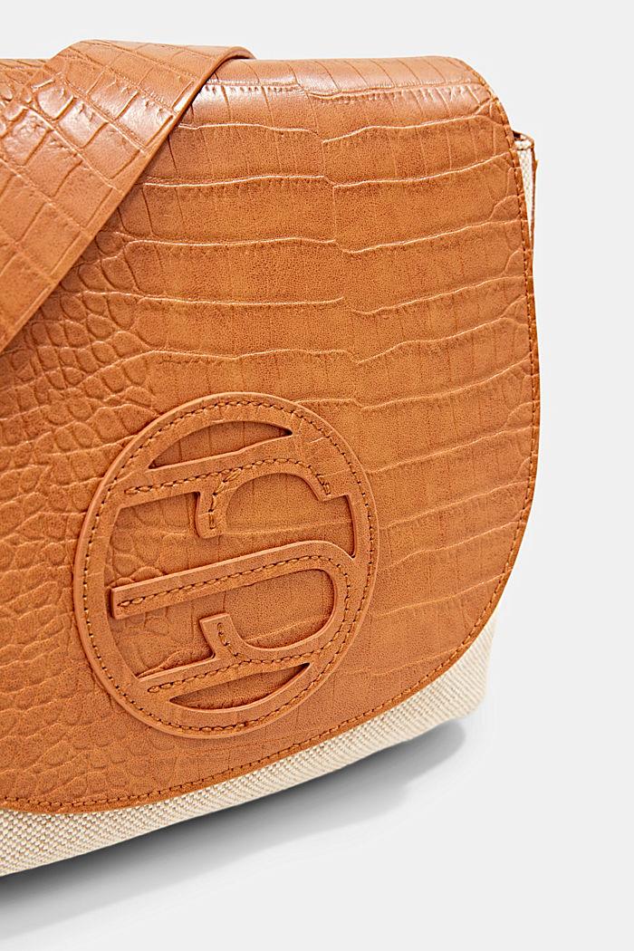Canvas and faux leather shoulder bag, CARAMEL, detail image number 3