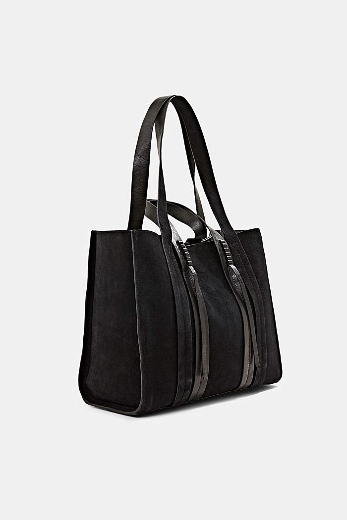 Shopper van 100% suède, BLACK, detail image number 2