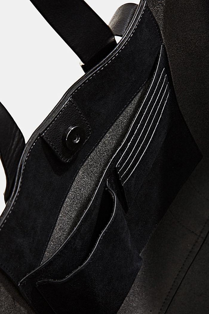 Shopper van 100% suède, BLACK, detail image number 4