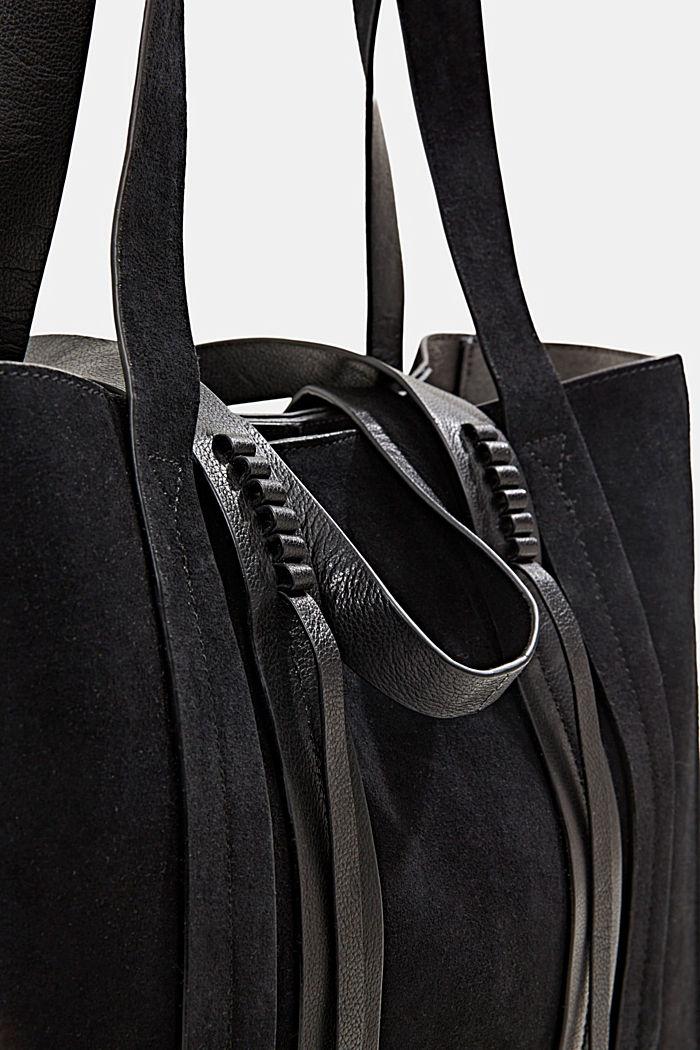 Shopper van 100% suède, BLACK, detail image number 3
