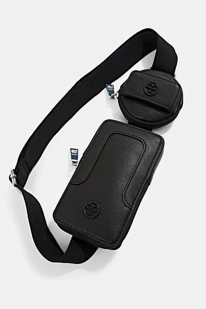 Veganistisch: smartphonetasje met een klein, rond tasje, BLACK, detail image number 4