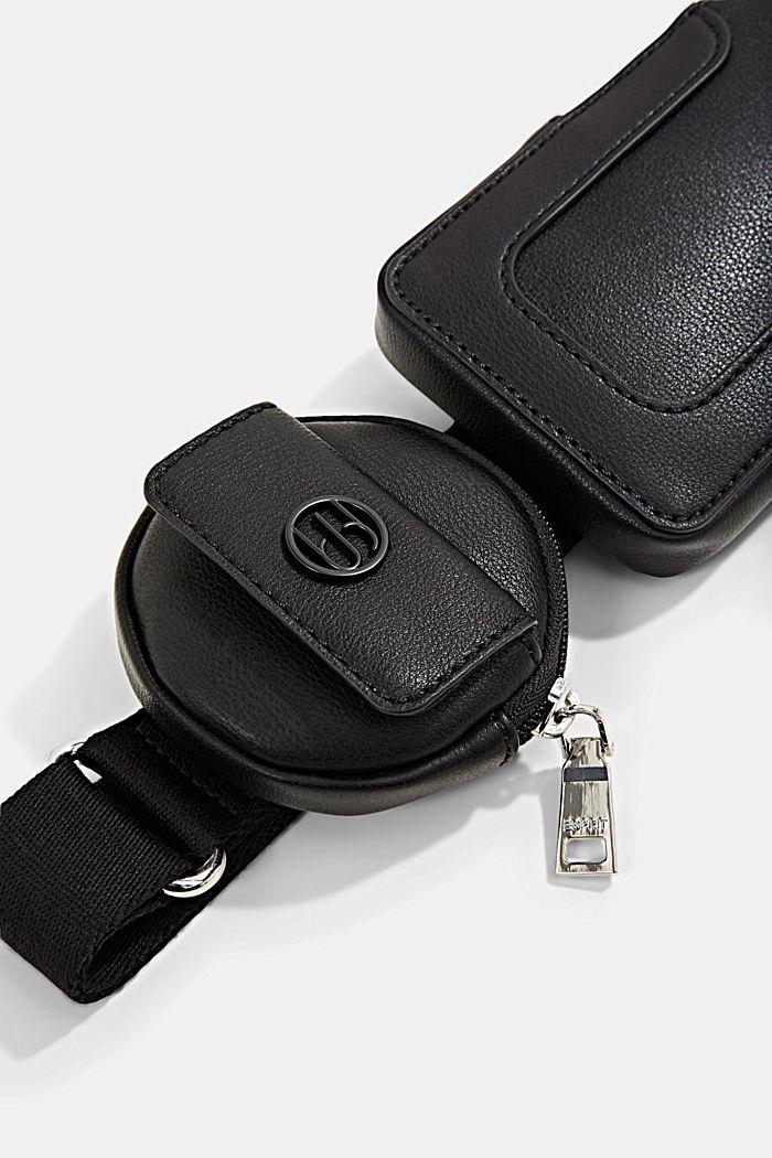 Veganistisch: smartphonetasje met een klein, rond tasje, BLACK, detail image number 3