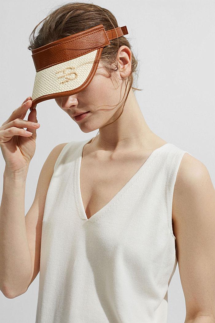 Visor Cap aus Bast mit Leder-Optik