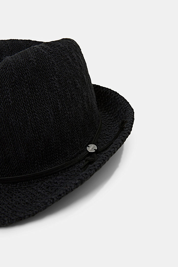 Knitted trilby hat, BLACK, detail image number 1