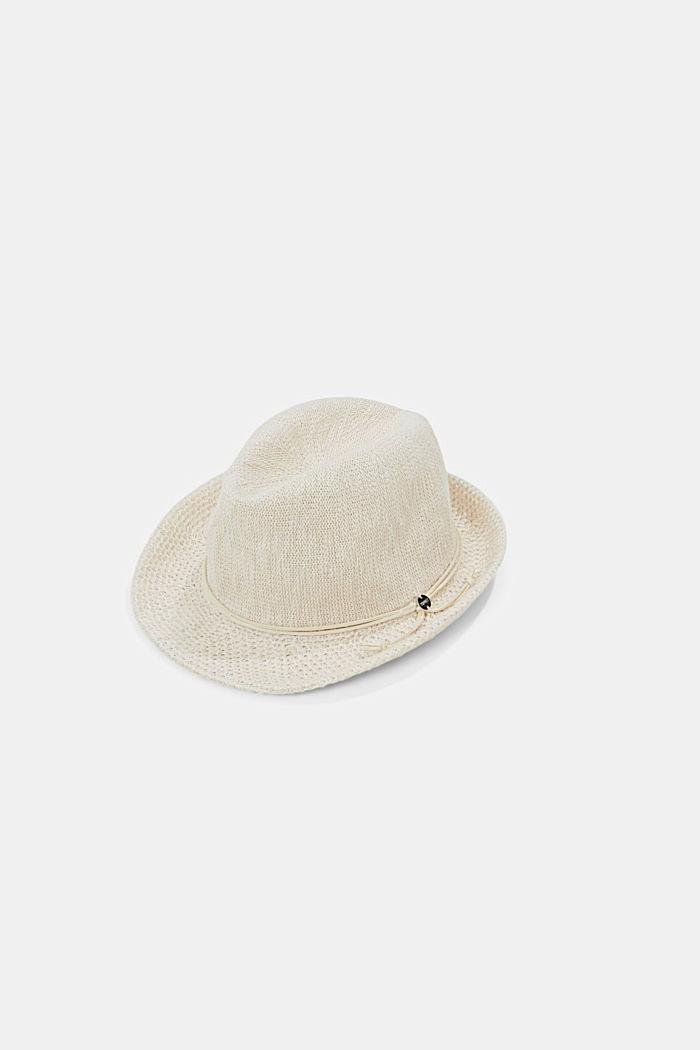 Sombrero Trilby de punto, CREAM BEIGE, detail image number 0