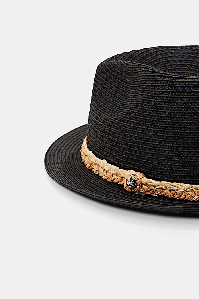 Trilby made of FSC™ certified straw, BLACK, detail image number 1