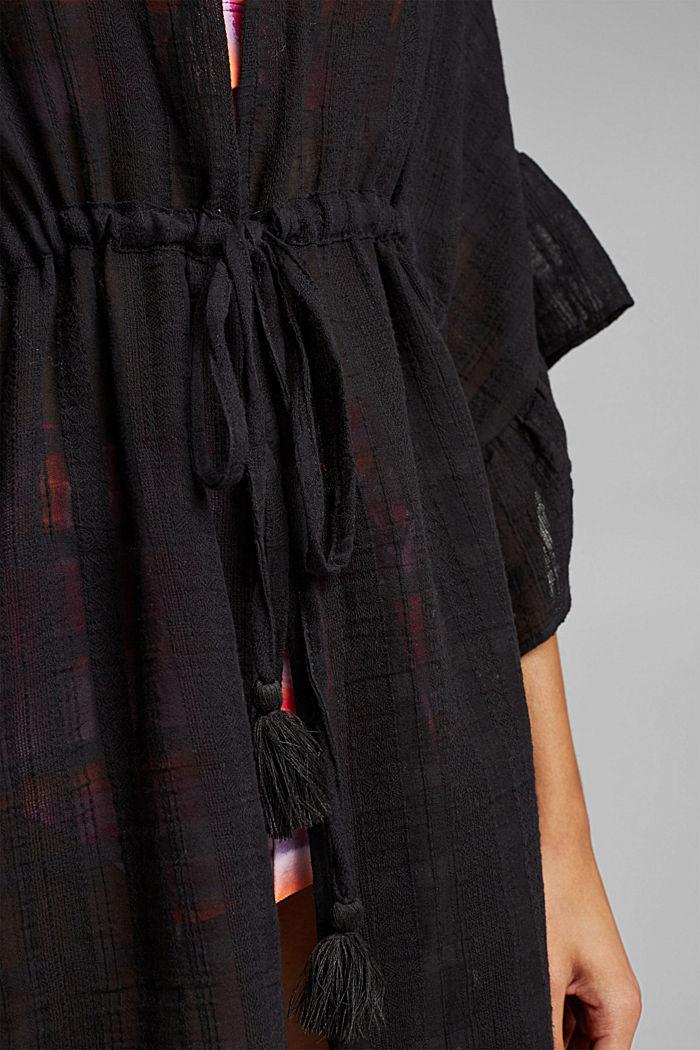 Strand-Poncho aus 100% Baumwolle, BLACK, detail image number 2