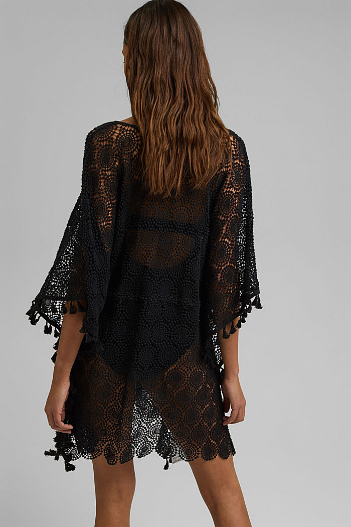 Poncho made of crocheted lace, BLACK, detail image number 3