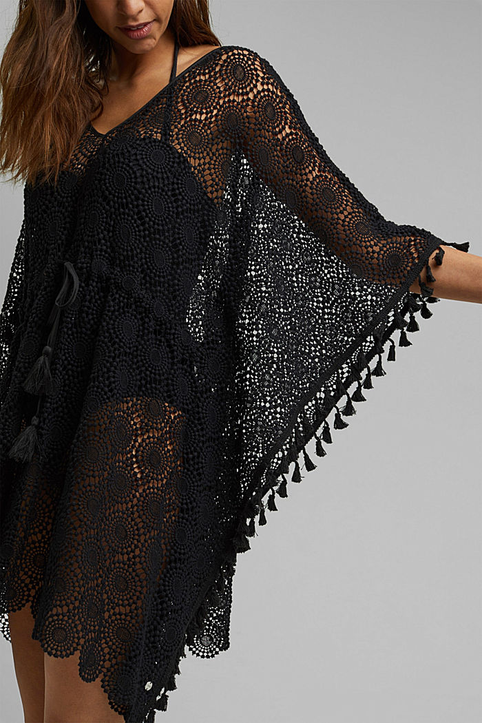 Poncho made of crocheted lace, BLACK, detail image number 2
