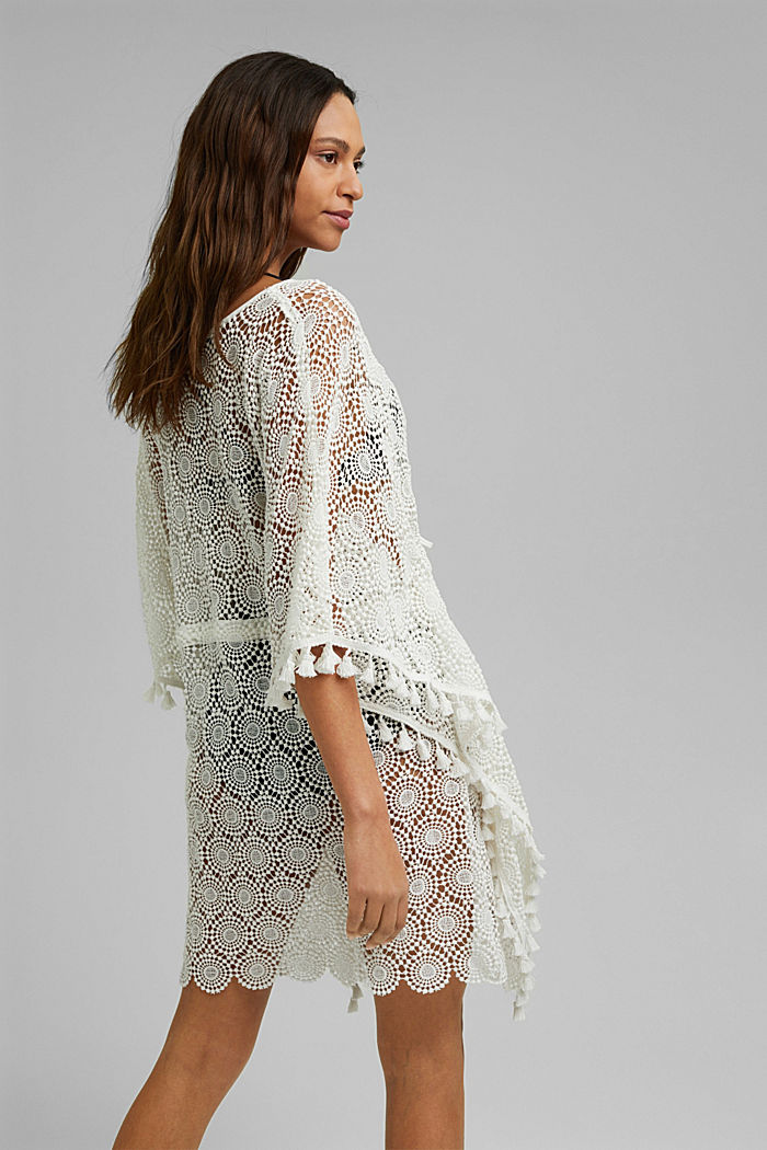 Poncho made of crocheted lace, OFF WHITE, detail image number 3