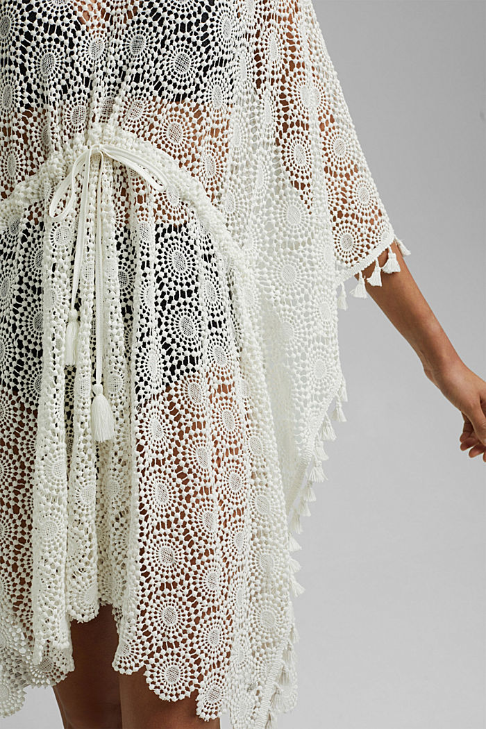 Poncho made of crocheted lace, OFF WHITE, detail image number 2
